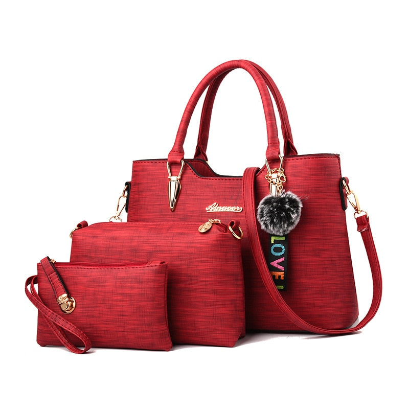 Amberler Luxury Women PU Leather Handbags Large Capacity Ladies Tote Shoulder Bags Designer 3 Pieces Set Crossbody Bags Female