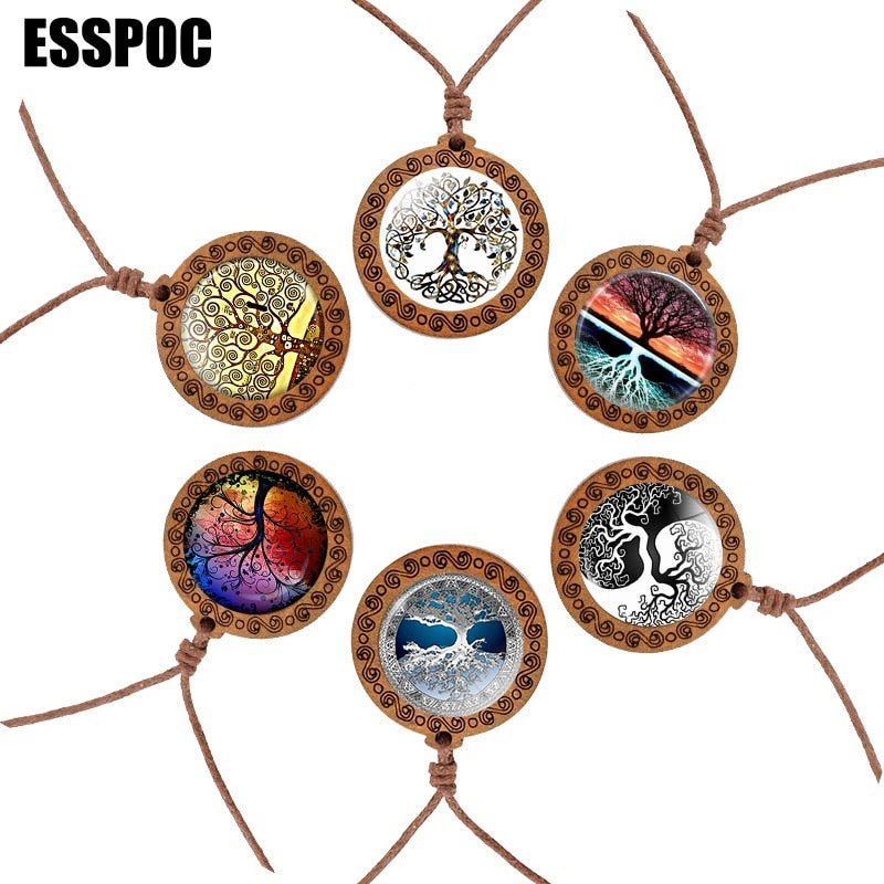 Tree of Life Glass Cabochon Necklace Wooden Necklace Vintage Rope Chain Women Men Pendant Necklace Life Tree Jewelry
