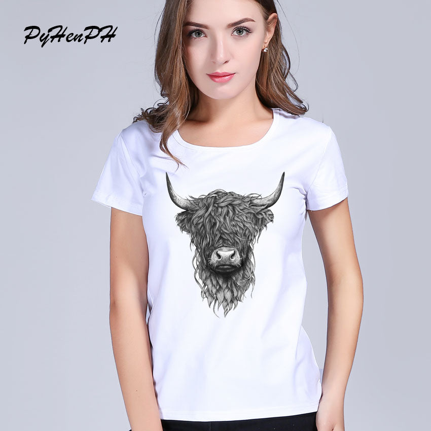 T shirt for women Highland Cattle Printed Tee shirts Female Fashion Animal cool women O-neck Short Sleeve tops