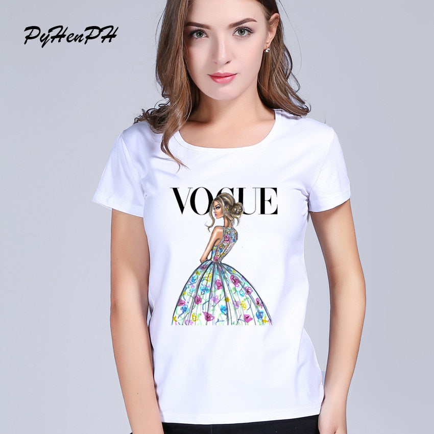 Vogue Ladies  t-shirt For women VOGUE Printed T-shirt Women Tops Tee Shirt Femme New Arrivals Hot Sale Casual T shirt