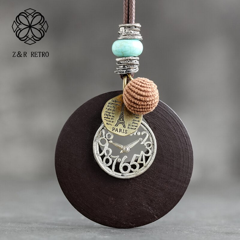 Wood Jewelry Pendant Necklace for Women Chokers Sweater Long Rope Chain Female Handmade Wooden Simple Clothes Accessories Alloy