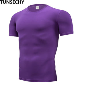 TUNSECHY 2018 Brand Clothing Men's T Shirt Men Fashion Tshirts Fitness For Male compression tight T-shirt S-4XL Free Shipping