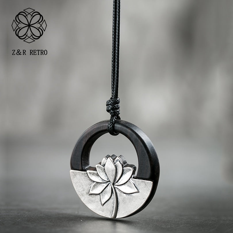Black Lotus Pendant & Necklacesfor Women Jewelry Female Wooden Handmade Sandalwood