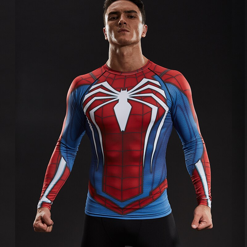 Raglan Sleeve Spiderman 3D Printed T shirts Men Compression Shirts Black Friday Tops For Male Fitness BodyBuilding Clothing
