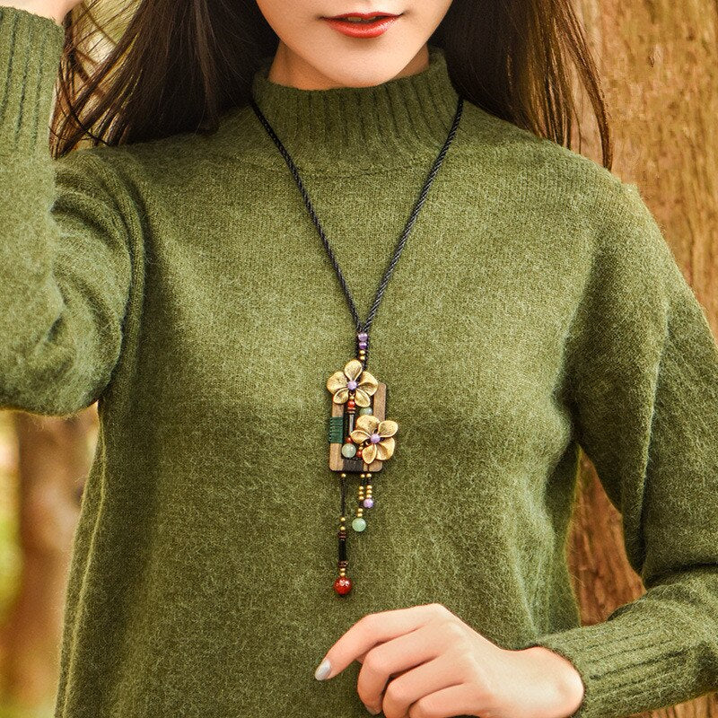 women necklace  new arrival wood copper alloy pendant vintage jewelry accessories long winter sweater choker necklaces XL209