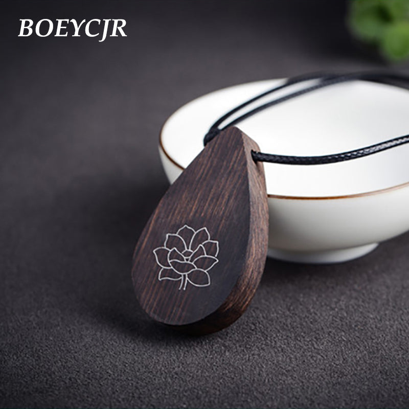 BOEYCJR Yoga Jewelry Meditation Wood Necklace Chain Handmade Jewelry Ethnic Pendant Necklace for Men and Women Gift