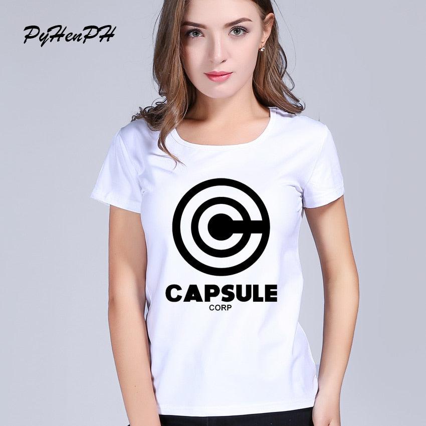 T-shirt for Women Dragon Ball Z - Capsule Corp Harajuku T Shirt White T-shirt  short sleeve casual Women tees Tops
