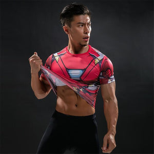 TUNSECHY Fashion Brand American Captain 3D Digital printing T-Shirt Male Super Hero Superman Fitness Compression T-Shirt