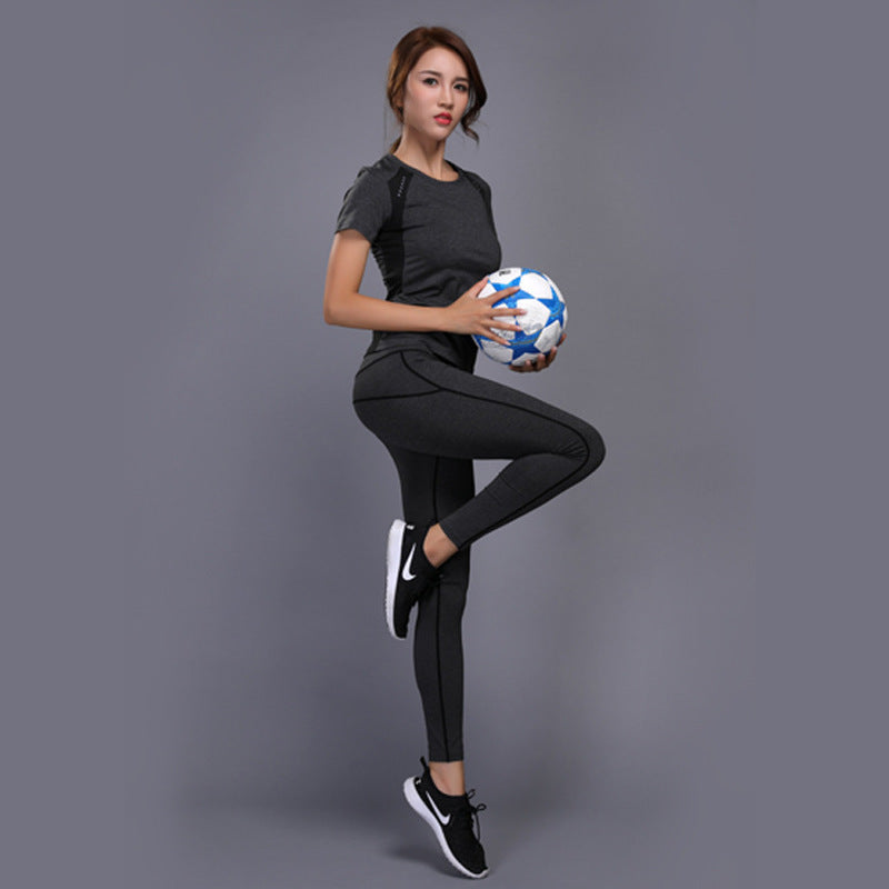 GXQIL Women Tracksuit Sportswear Woman Sport Suit Gym Yoga Fitness Set Sport T-shirt Leggings Top Running Jogging Female Clothes