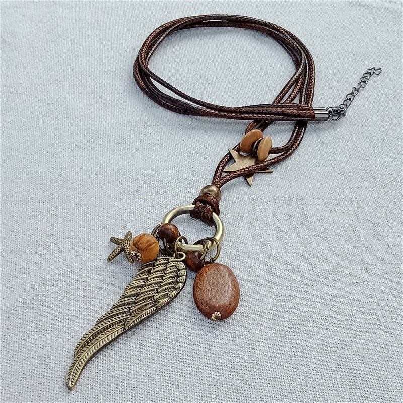 2018 double vintage long pendant necklace wood stars wings pendant handmade sweater accessories women jewelry collier