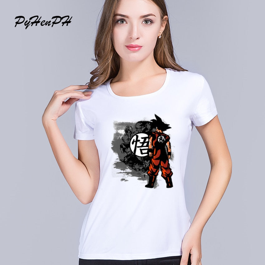 Women's Dragon Ball Print T-shirts Short Sleeve Woman Summer Style Goku Design T Shirt Tees Women Clothing