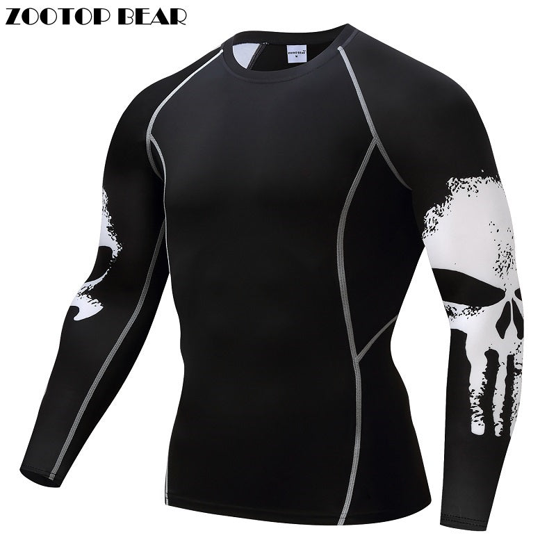 Hot Compression Shirt Men Breathable Quick Dry T Shirt Bodybuilding Top Mens Tee Fitness Weight lifting Base Layer
