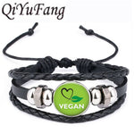 QiYuFang Vegan diet Leather Bracelet vegetarian diet go organic Jewelry Black Multilayers Charms bangle for Womens Mens 1pcs/lot