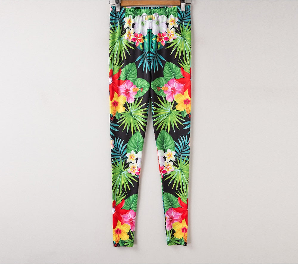 Tropical Leaves Print Women Leggings - Activa Star