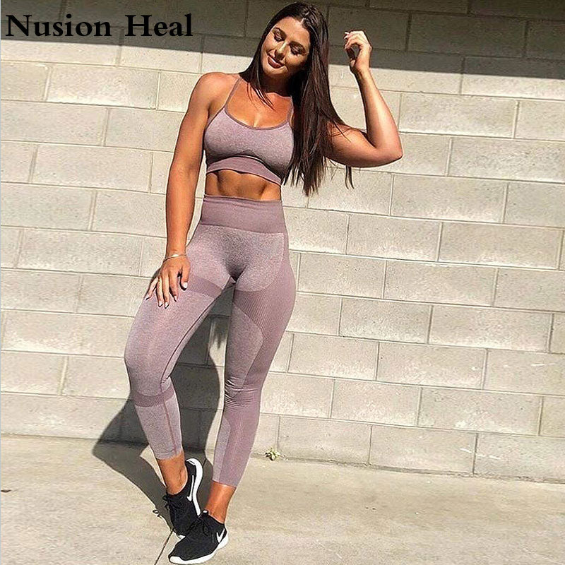 2 Pcs Women Yoga Set Gym Ombre Seamless Leggings+Cropped Shirts Workout Sport Suit Women Yoga Pants+Sports Bra Fitness Set Wear