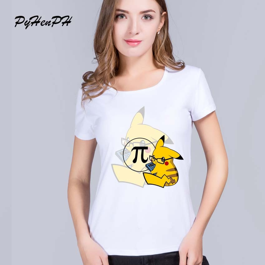 Pikachu studying Pai  T-Shirt  women Pokemon Go Design T shirts Female Casual cool women Short Sleeve Tee tops