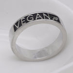 Vegan Ring Vegetarian Jewelry Wedding Band Vegan Gift YLQ0536