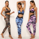 Camouflage Print Women's Yoga Fitness Top + Leggings - 2 Piece Set - Blue