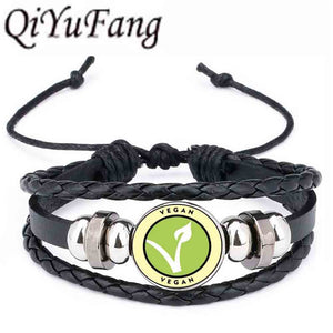 Vegan diet Leather Bracelet vegetarian diet go organic Jewelry Black Multilayers Charms bangle for Womens Mens