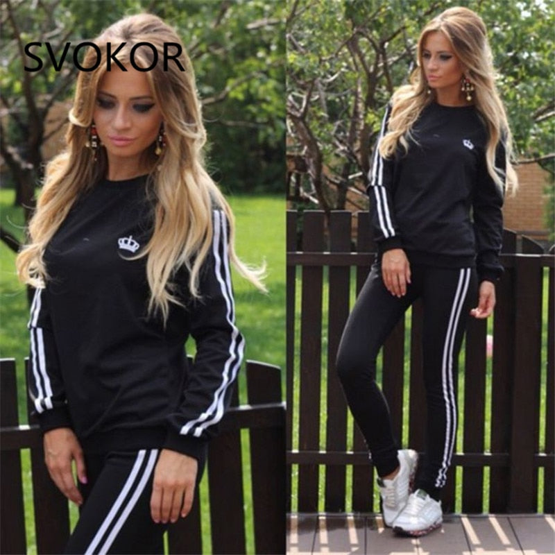 SVOKOR Women Set Casual Fashion Autumn Long Sleeves Fitness Set Solid Polyester Spandex Slim Sexy work out Long Women Set