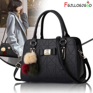 FGJLLOGJGSO Fashion hairball Women Leather Handbag Female Bow-knot Shoulder Bags Handbags Lady Shopping Tote Soft Messenger Bag