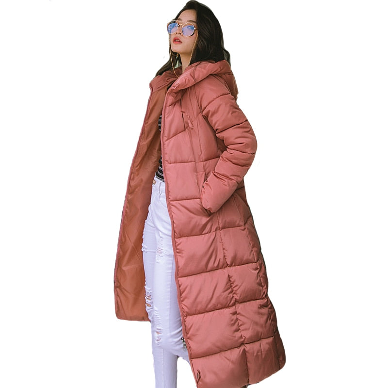 Winter Women X-long Hooded Cotton Padded Coat High Quality