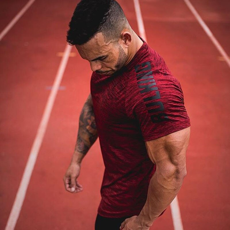 New Compression T-shirt Jogger Sporting Skinny Tee Shirt Male Gyms Fitness Bodybuilding Workout grey red Tops Crossfits Clothing