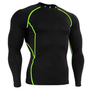 Men T Shirt Compression Shirt  Rashgard Tight Workout Long Sleeve Tshirt Bodybuilding Fitness Clothing Dry Fit Tee Shirt Top