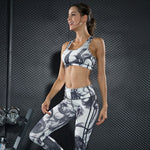 Ensemble Women Sport Suit Sportswear Yoga Set Tracksuit Sexy Smoke Ink Painting Fitness Set Workout Gym Wear Running clothing