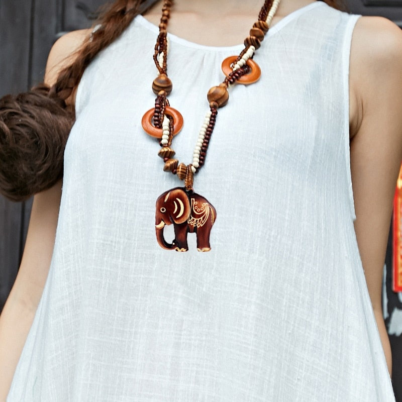 Women 1 PC Bohemia Necklace Jewelry Ethnic Style Long Hand Made Bead Wood Elephant Pendant Necklace Jewelry