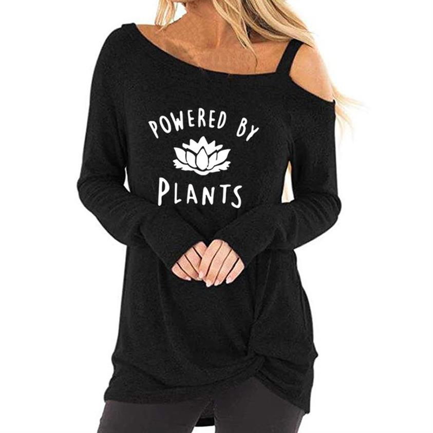 Fashiont-Shirt for Women Long Sleeve Oblique Shoulder T-Shirt Vegan Letters Print Top Female Plus Size Femme Cropped