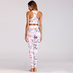Floral Women Yoga Set Sportswear Gym Wear Running Clothes Tracksuit Sexy Fitness Set Sport Suit Tank Top Pants Leggings,ZF216