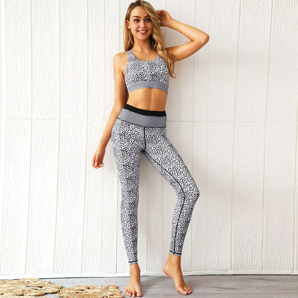 Women Leopard Fitness Sets High Waist Sexy Tracksuit white Bra+Leggings Workout Patchwork Two Piece Set Sports Women Sets