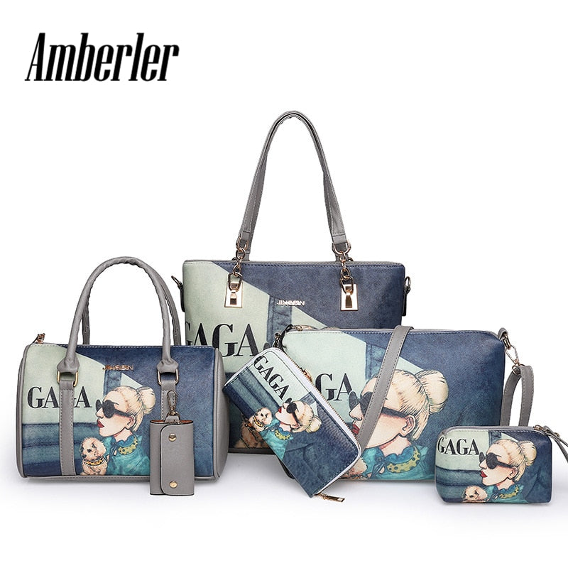 Amberler High Quality PU Leather Women Handbags 6 Pieces Set Printed Shoulder Bag Ladies Crossbody Bags Large Capacity Tote Bags