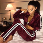 Autumn Tracksuit Women Two Piece Running Set Stripe Top And Sweatpants Women Sports Suit Casual Yoga Gym Fitness Set Sportswear