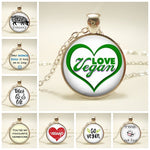 2019 Hot Sale Vegetarian Necklace Herbivore I Love Vegan Picture Necklace Time Gem Glass Necklace Gift for Vegetarian People