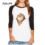 Cute Cat Print Women T-shirt 3d Animal Design Full Raglan Sleeve T Shirt Woman Fashion Round Neck Tops Tee Shirts