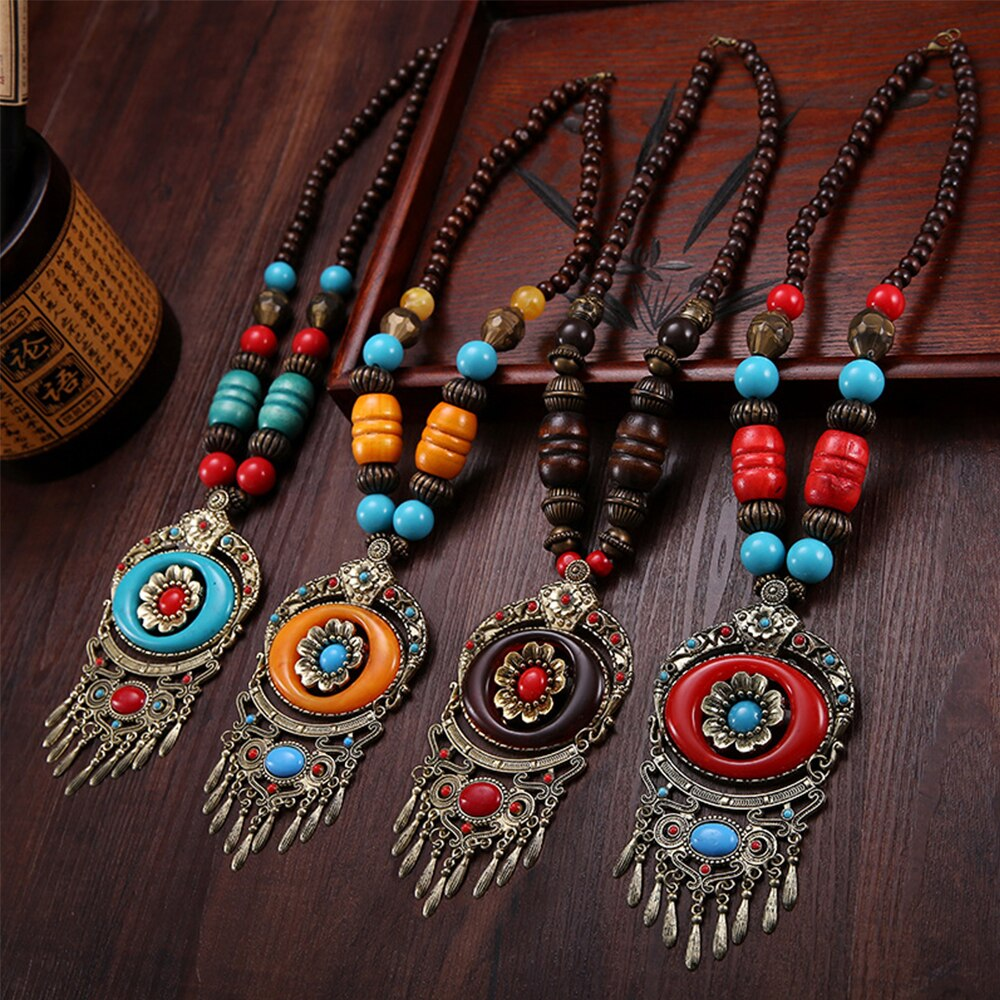 Bohemian Ethnic Wood Necklace Tibet Vintage Metal Beads Maxi Pendant Necklaces Women Accessories Clothes Dress Boho Jewelry