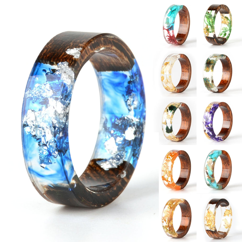Unique Wood Women Rings With Classical Blue Color Sliver Oil Transparent