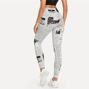 Black And White Newspaper Letter Print Leggings - Activa Star