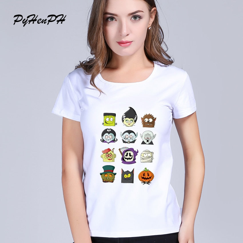 Halloween Print Funny T Shirts Summer O-neck Rock T-shirt Female Short Sleeve Novelty Tee Shirt Top Femme PH833