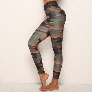 Camouflage Print Women's Yoga Fitness Top + Leggings - 2 Piece Set -mPurple