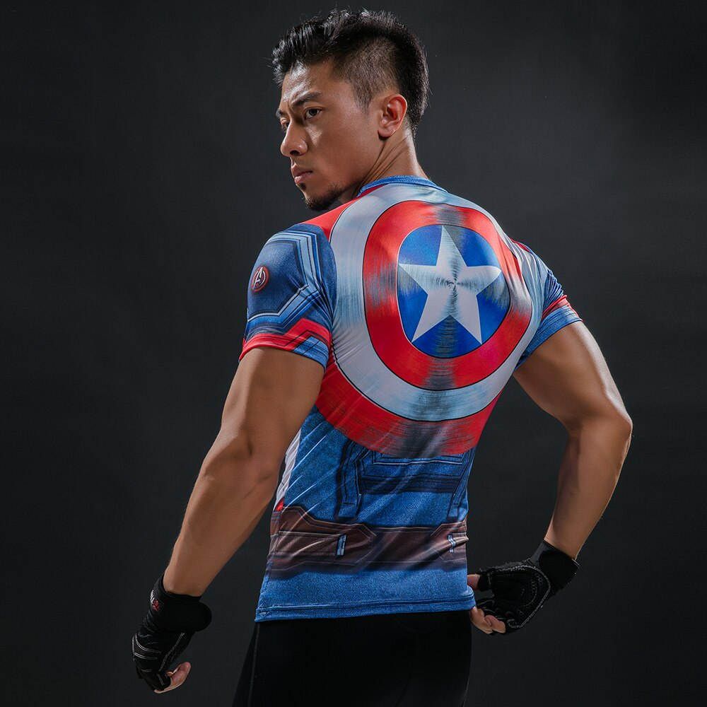 Captain America 3D Printed T-Shirt Men's Compression Shirt Superhero Marvel Comics Funny Fitness Clothing Exercise Tops & Tees