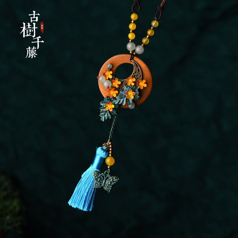 Ethnic Sweater Pendant Necklace For Women Butterfly Tassel Necklace Long Chain Maxi  Wooden Suspension Necklace fashion jewelry