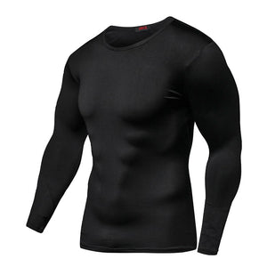 Hot Sale Fashion Fitness Compression Shirt Men Bodybuilding Tops Tees Compression Tight Tshirts Long Sleeves Clothes