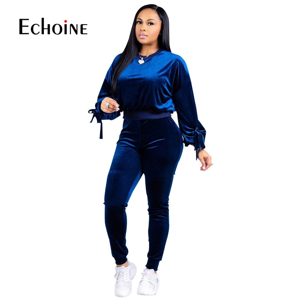 Autumn fashion sexy Warm Velvet 2 Two Pieces Women Set Sportswear Tracksuit Soft Suit Womens Fitness Set Pullover Tops+Pants