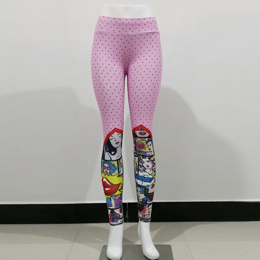 Juno Cartoon Print Fitness Leggings