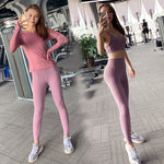 3Pcs Sport Suits Women Sports Shirt+Bra+Legging Fitness Sets Workout Gym Wear Running Clothing Tracksuit Sport Suit Women,ZF307