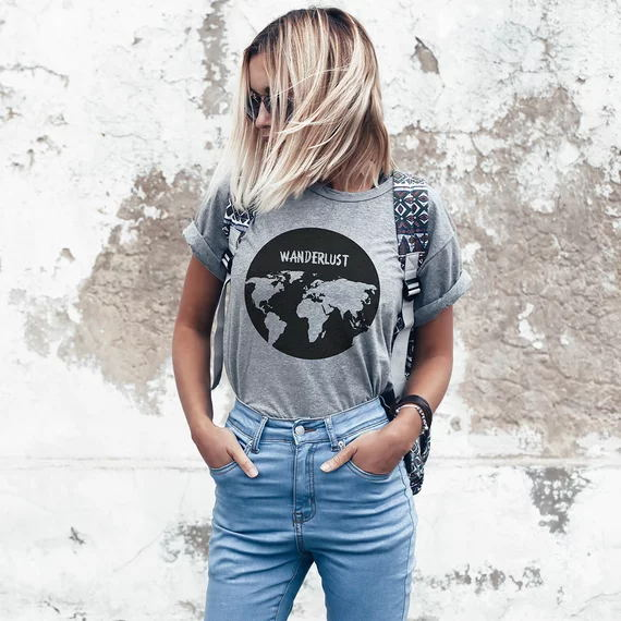 Hillbilly Wanderlust Map Printed Women Grey Oversize Classical T shirt