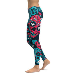 Blue Sugar Skull Active Sport Leggings